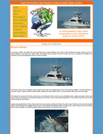 Sportfishing Charter Business, Costa Rica, Panama, NC web site
