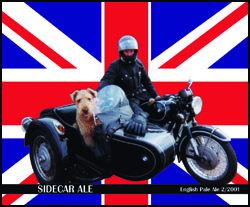 Union Jack Beer Label Illustration with dog in sidecar
