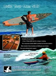 A full-page ad for SUP Magazine for Chesapeake Light Craft of Annapolis, MD, by A.D.design