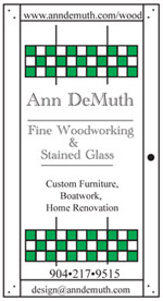 Ann DeMuth Fine Woodworking & Stained Glass business card by A.D.design